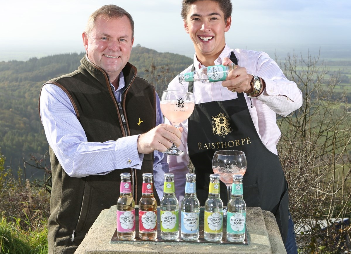 Sir Gary Verity helps Oliver Medforth of Raisthorpe Manor launch its new Yorkshire Tonics