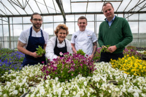 LtoR Josh Whitehead, Harewood Food & Drink Project; Nick Brown, Black Swan at Oldstead; chef consultant Stephanie Moon, All About Food and Herbs Unlimited MD Philip Dodd